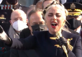 LADY GAGA SINGS NATIONAL ANTHEM AT INAUGURATION: OFFERS A SWEET 'I LOVE YOU' TO PRESIDENT BIDEN AND VP HARRIS